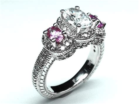 engagement ring three stone oval diamond vintage