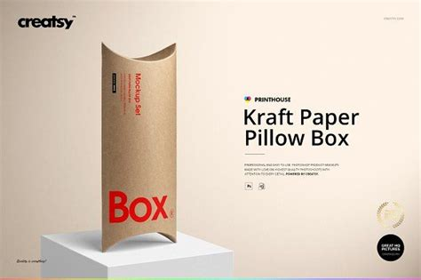 Free download high quality box packaging mockups to showcase your product packaging design in different styles and arrangements. Kraft Paper Pillow Box Mockup Set by creatsy5 on ...