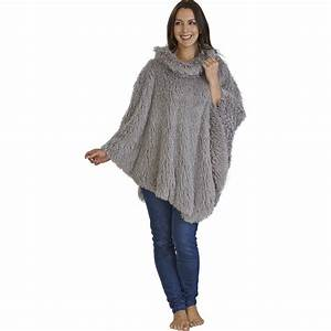 ladies luxury fluffy poncho loungewear slenderella womens With robe poncho