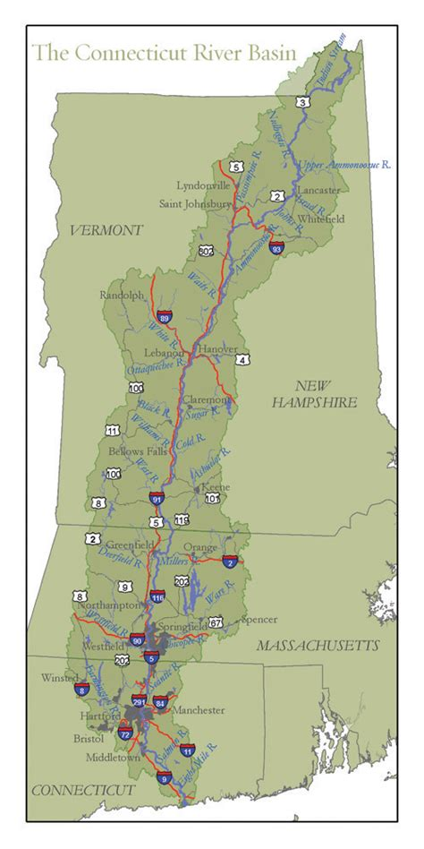 map connecticut river watershed connecticut river