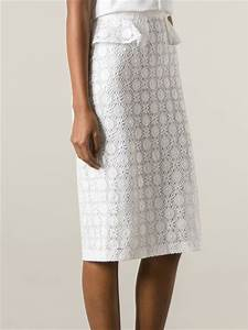 Burberry Prorsum Lace Pencil Skirt in White   Lyst