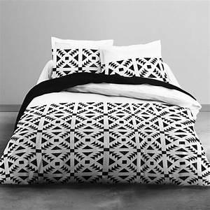 Parure De Lit Noir : parure de lit 2 personnes imprim g om trique linge de lit ~ Melissatoandfro.com Idées de Décoration