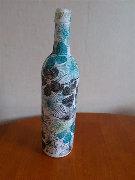 diy wine bottle  pva glue  tissue paper artsy