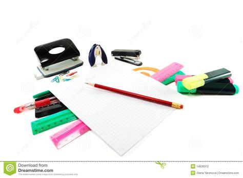le de bureau à pile fournitures de bureau dans une pile photographie stock
