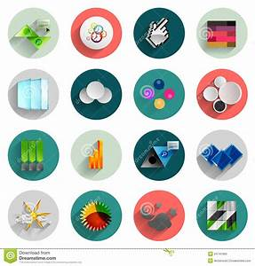 Infographic Inside Colorful Circles. Flat Icon Set Stock ...