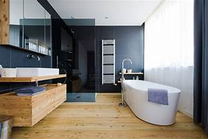 top 25 modern bathroom design examples mostbeautifulthings With plancher bois salle de bain