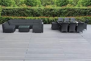 Genuine 16 piece ohana wicker patio furniture set outdoor for Ohana outdoor sectional sofa