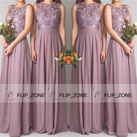 Vintage Mauve Chiffon 2015 A Line Bridesmaid Dresses For Beach Wedding Party With Sheer Scoop