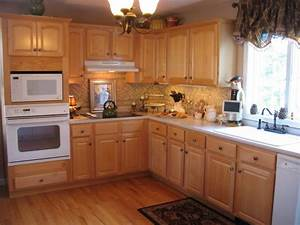 Maple Cabinets White Appliances Light Granite Countertops