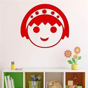 sticker visage de fille avec serre tete stickers chambre With chambre bébé design avec serre tete fleur fille
