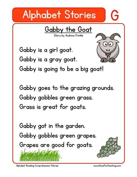 kindergarten reading comprehension worksheets 569 | alphabet stories comprehension g