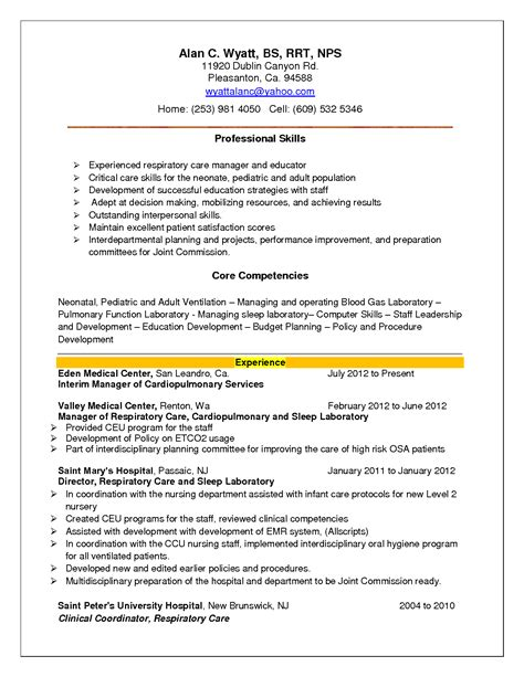 respiratory therapy resume examples respiratory therapy