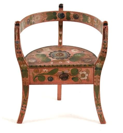 antique corner chair with rosemaling painting