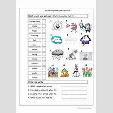 Vocabulary Matching Worksheet  Weather Worksheet  Free Esl Printable Worksheets Made By Teachers