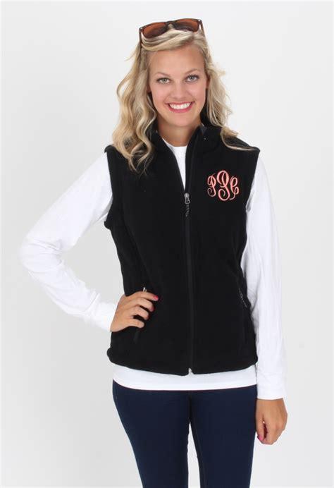 monogrammed black fleece vest marleylillycom fashion monogram outfit clothes