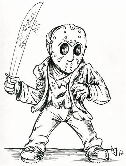 Jason Coloring Pages Friday Voorhees Cartoon Drawing