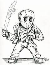 Jason Coloring Voorhees Drawing Horror Cartoon Friday Deviantart 13th Mask Drawings Atlantajones Freddy Printable Halloween Scary Colouring Myers Michael Vorhees sketch template