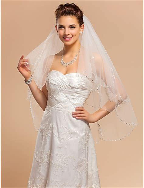 Princess Two Tier Tulle Wedding Bridal Veil With Beaded