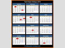 Tamil Nadu Holidays 2019