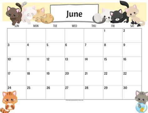 editable calendar june  printable