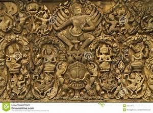 Angkor Wat Art Of Ancient Hindu God Stone Royalty Free ...