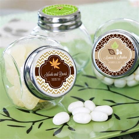 mini glass candy favor jars  personalized fall labels