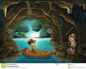 A Girl And A Boy At The Cave Stock Illustration