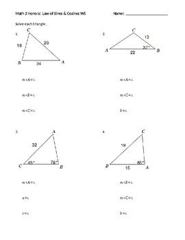 law of sines cosines worksheet by dragoon tpt