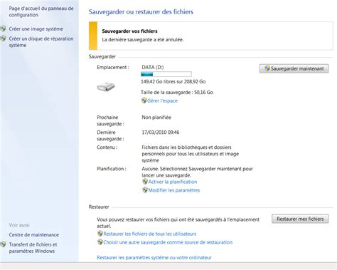 suppression de sauvegarde automatique windows 7