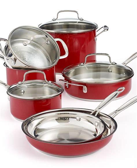 cuisinart chefs classic stainless steel metallic red  piece cookware set reviews cookware