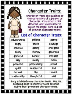 character traits list images  grade reading
