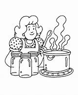 Coloring Cooking Mom sketch template