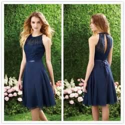 bridesmaids free navy blue bridesmaid dress halter high neck cutout back lace chiffon bridesmaid dresses
