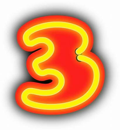 Neon Numerals Drie Clipart Cijfers ثلاثه Nummers