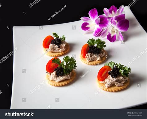 canape biscuit canape made from biscuit tuna pate tomato parsley and