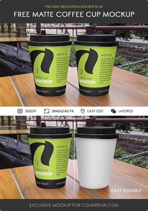 Mockup of three coffee cups with customizable lids. Free Matte Coffee Cup Mockup - Counrty4k