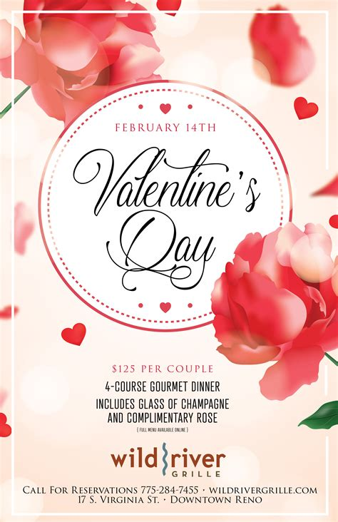 valentines day  menu wild river grille