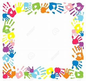 Handprint clipart frame - Pencil and in color handprint ...