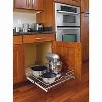 kitchen cabinet organizer Pull-Out Wire Basket Base Cabinet Chrome, Kitchen Storage ...