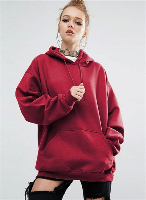 Womens Solid Loose Fit Kangaroo Pocket Pullover Hoodie
