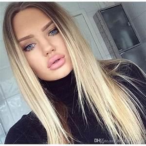 Ombré Hair Blond Foncé : hotkis long straight blonde hair lace front wig heat resistant hair dark brown root ombre blonde ~ Nature-et-papiers.com Idées de Décoration