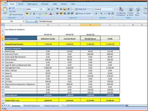 rental expense spreadsheet excel spreadsheets group