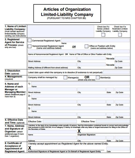 llc articles of organization template 9 sle llc operating agreement templates to sle templates