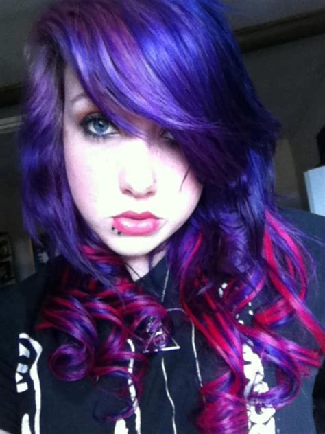 Purple And Blue Hair With Red Streaks Hair Pinterest