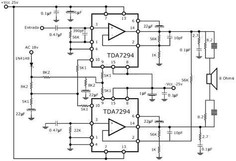Rms Stereo Power Amplifier Tda Schematic Part