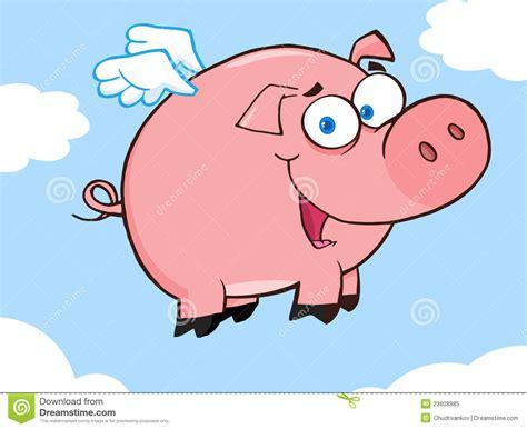 happy pig flying   sky royalty  stock photo image