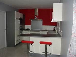 Style idee deco cuisine gris et rouge for Idee deco cuisine avec meuble de cuisine rouge et gris