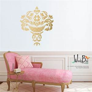 gold damask wall decal jacobean large wall decal gold With gold wall decals