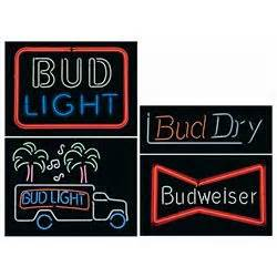 Four Budweiser Family Neon Beer Signs