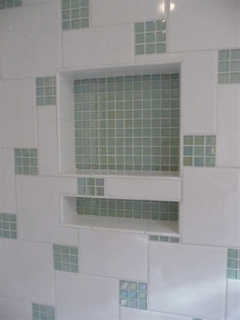 glass tile accents  shower contemporary bathroom